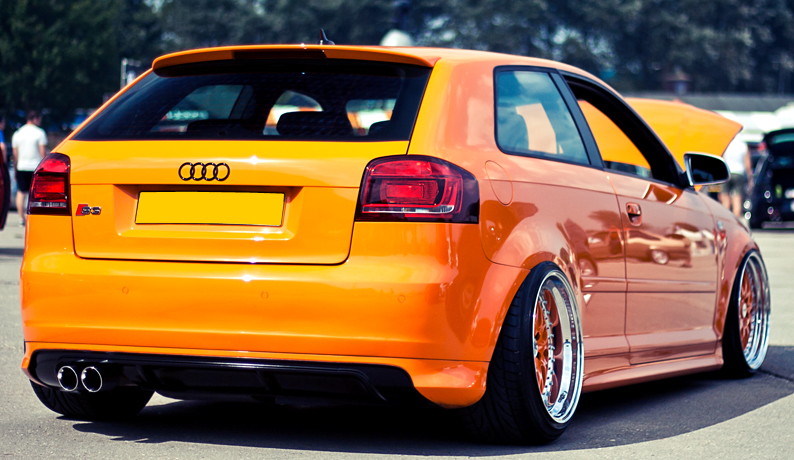 For Audi A3 8P 08-12 Rear Bumper RS spoiler Valance addon Skirt Diffuser Chin
