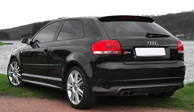 audi a3 8p 3 door s3 look rear bumper spoiler skirt. Black Bedroom Furniture Sets. Home Design Ideas